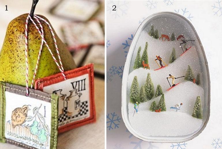stampington xmas ornaments, ski diorama martha stewart