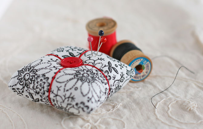 handmade pin cushion, pins, thread, sewing notions