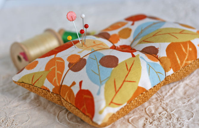 handmade pin cushion, pins, thread